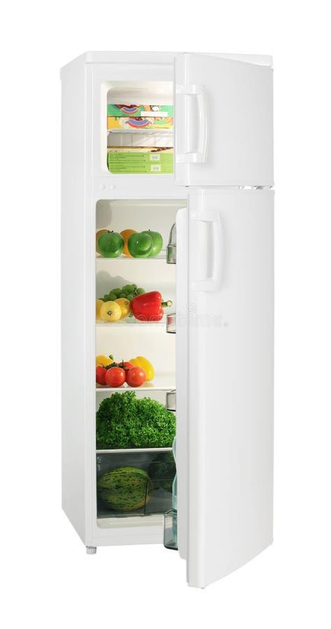 Réfrigérateur de blanc de deux trappes images libres de droits