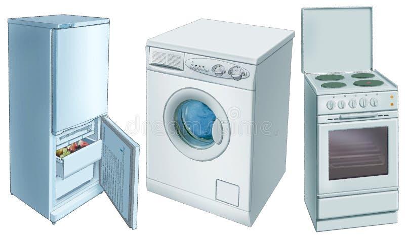 Réfrigérateur, machine à laver, électrique-plaque illustration libre de droits