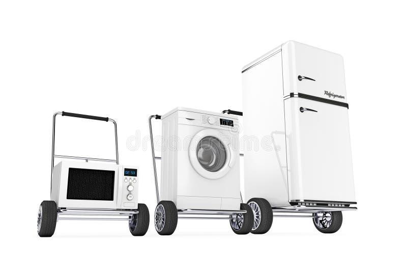 r frig rateur machine laver et four micro ondes au dessus des chariots de main 3d r. Black Bedroom Furniture Sets. Home Design Ideas