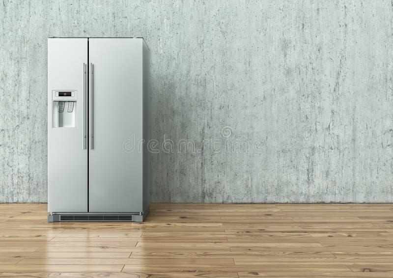 Réfrigérateur moderne d'acier inoxydable sur un mur en béton et sur un plancher en bois - rendu 3D photographie stock libre de droits