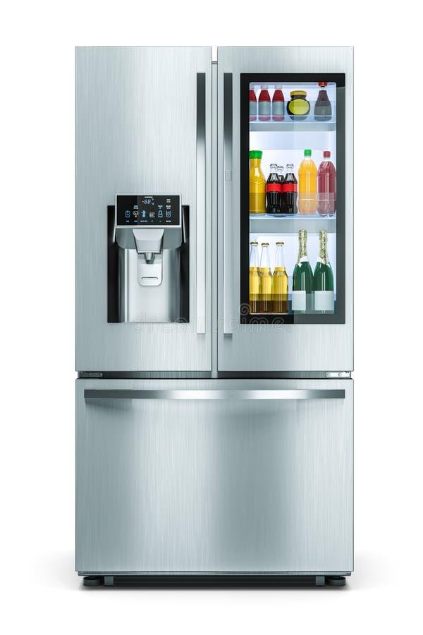 Réfrigérateur moderne de ménage avec la fenêtre de stockage de boissons d'isolement sur le fond blanc 3d illustration stock