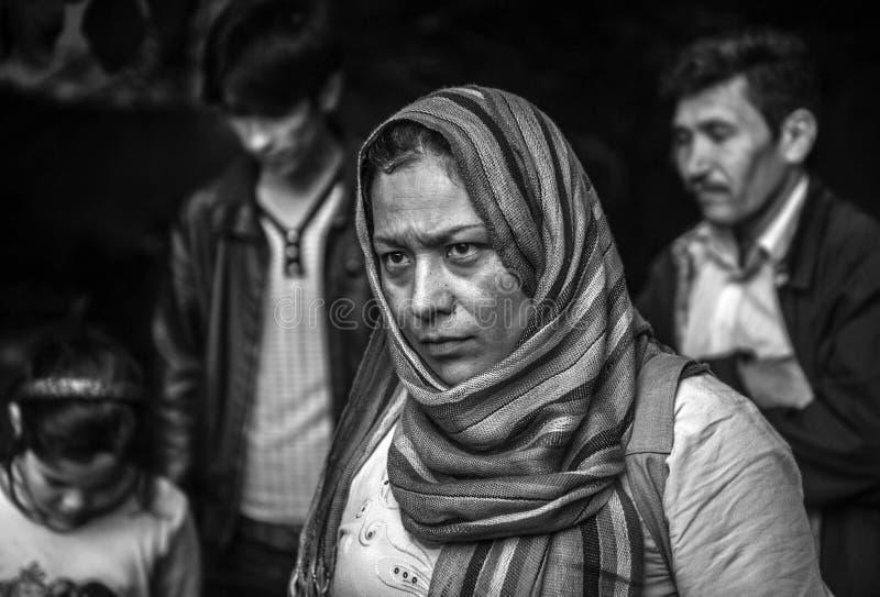 Réfugié sans abri en Grèce images stock