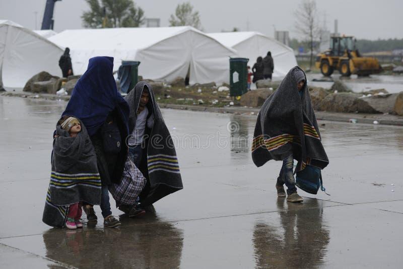 Réfugiés dans Nickelsdorf, Autriche photographie stock