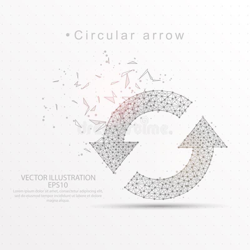 Régénérez cadre digitalement dessiné circulaire de fil de triangle de flèches le bas poly illustration de vecteur
