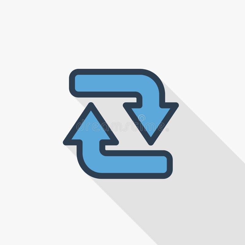 Régénérez la ligne mince icône plate de flèches de couleur Symbole linéaire de vecteur Longue conception colorée d'ombre illustration de vecteur