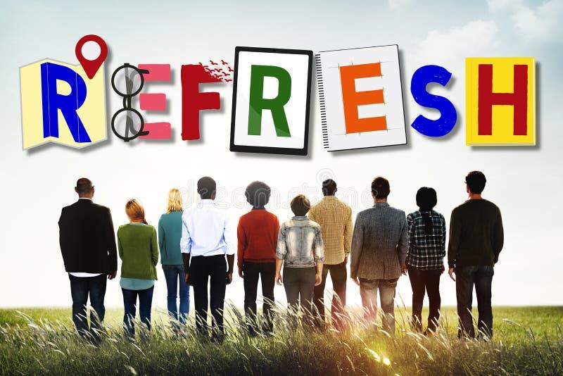 Régénérez la reprise remplacent rétablissent animent le concept image libre de droits
