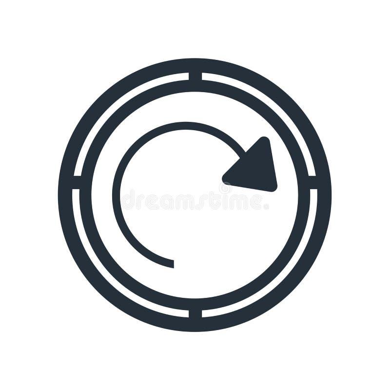 Régénérez le signe de vecteur d'icône de bouton de flèche de page et le symbole d'isolement sur le fond blanc, régénèrent le conc illustration libre de droits
