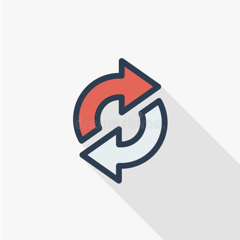 Régénérez les flèches, synchronisation, échangez la ligne mince icône plate de couleur Symbole linéaire de vecteur Longue concept illustration libre de droits