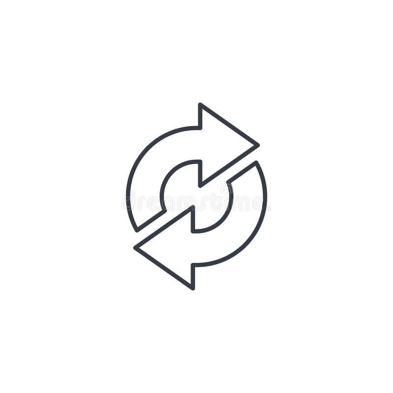 Régénérez les flèches, synchronisation, échangez la ligne mince icône Symbole linéaire de vecteur illustration libre de droits