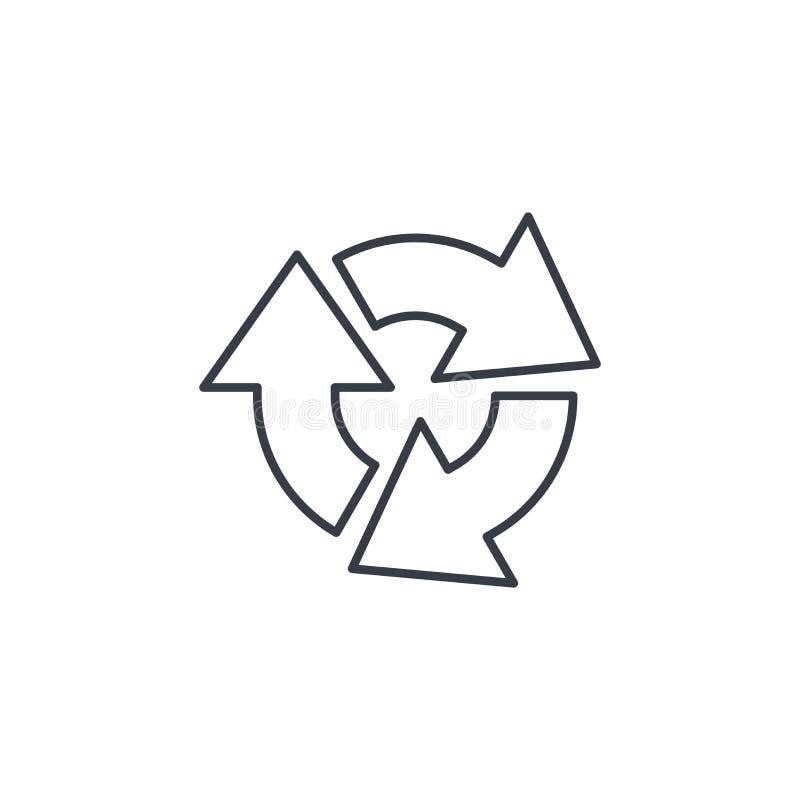 Régénérez trois que la flèche tournent la ligne mince icône Symbole linéaire de vecteur illustration de vecteur