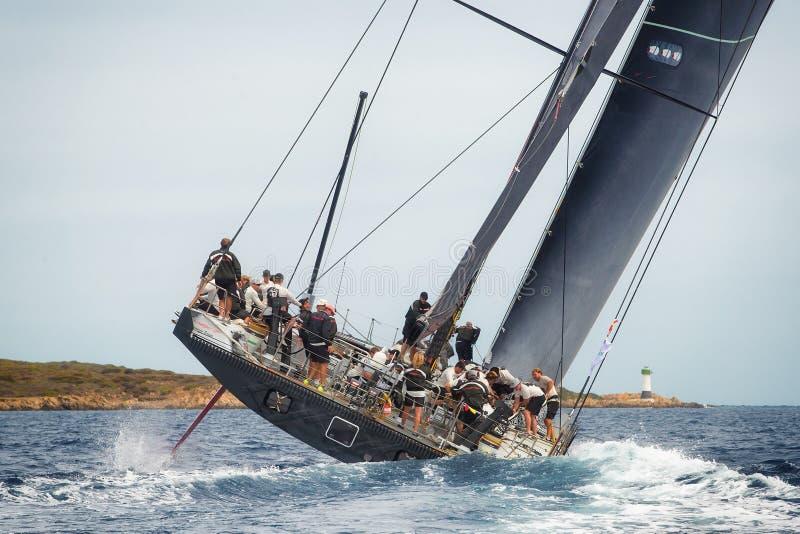 Régate de voile de Maxi Yacht Rolex Cup 2015 à Porto Cervo, Italie photos libres de droits