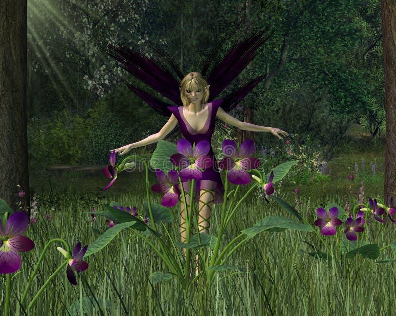 Régfion boisée violette de fée au printemps illustration de vecteur