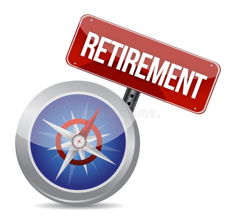 Régime de retraite et boussole, concept d'affaires illustration de vecteur