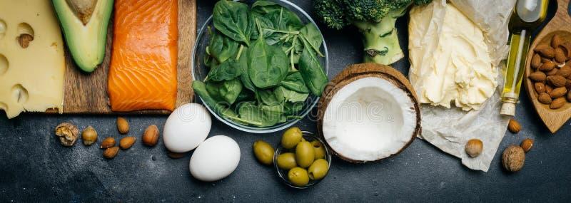 Régime Ketogenic Gros produits de basse taille de glucides Nourriture saine de consommation, graisse de protéine de plan de repas photographie stock