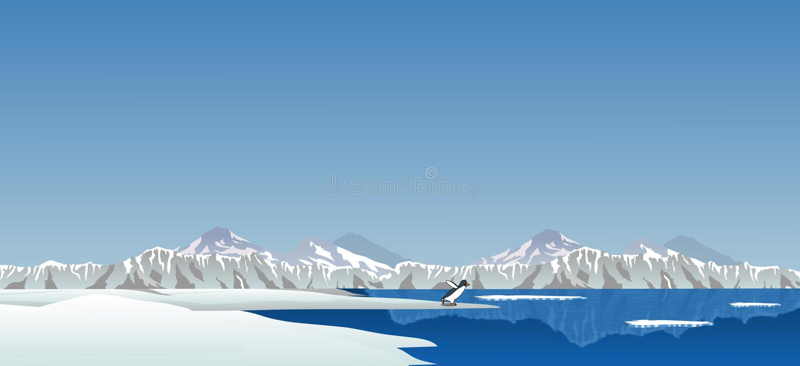 Région arctique avec le pingouin image stock