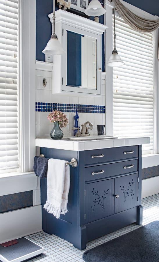 Région bleue et blanche de vanité de salle de bains avec la raboteuse photographie stock libre de droits