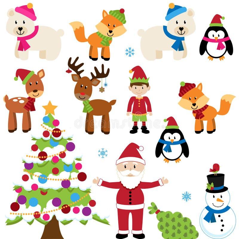 Région boisée et Forest Animals de Noël de vecteur illustration libre de droits