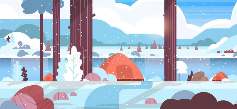 Région campante de tentes à l'arrière-plan neigeux de nature de paysage de concept de camp de forêt d'hiver avec des montagnes et illustration libre de droits