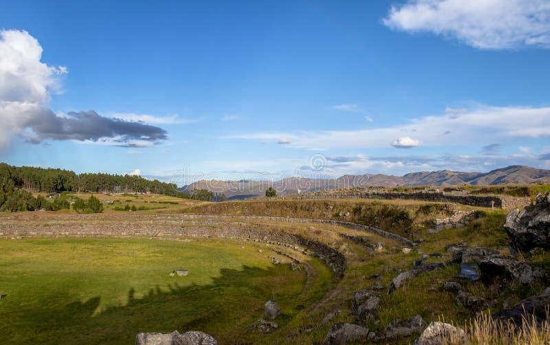 Région circulaire de Suchuna chez Saqsaywaman ou Sacsayhuaman Inca Ruins - Cusco, Pérou photo stock