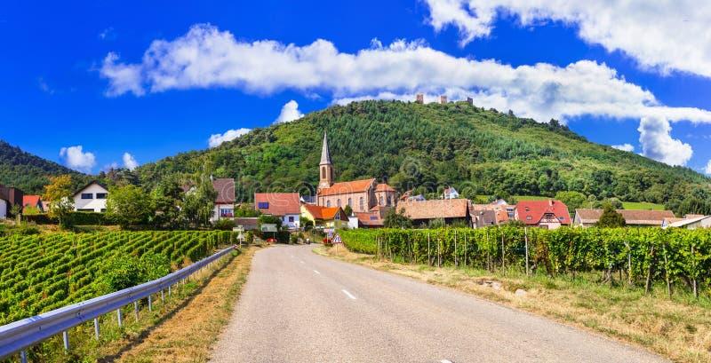 Région d'Alsace de la France - itinéraire célèbre de vigne image libre de droits
