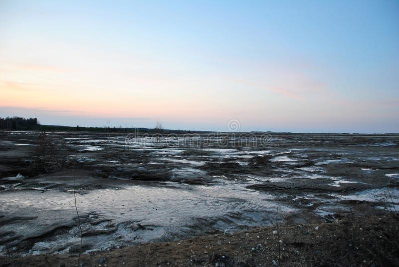 Région d'Ivanovo, carrière abandonnée, marais images stock