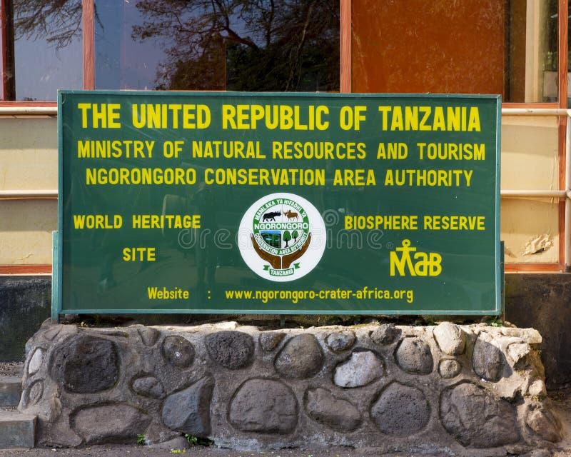 Région de conservation de Ngorongoro d'entrée, Tanzanie image libre de droits