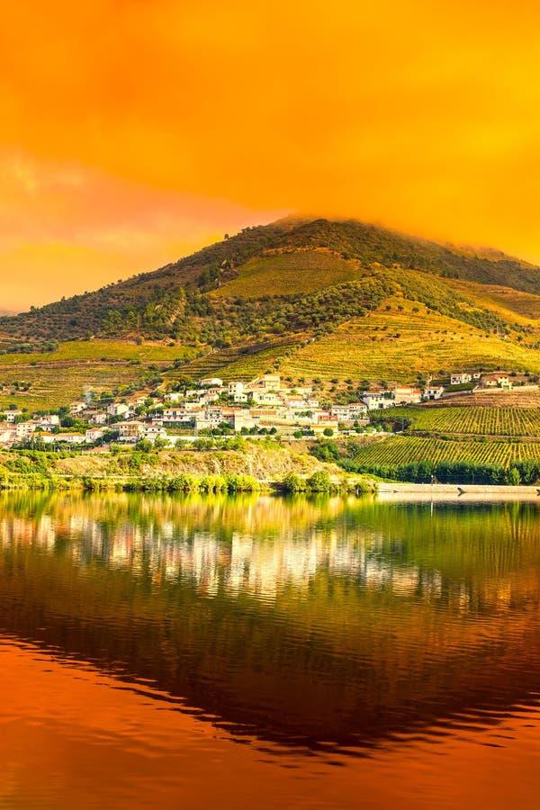 Région de Douro de rivière au lever de soleil photos libres de droits