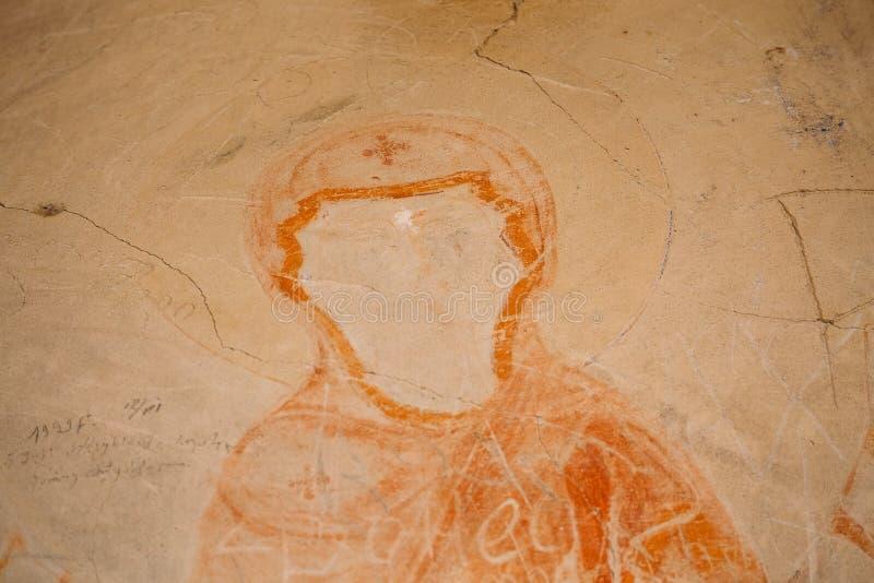 Région de Kakheti, la Géorgie Fresques antiques de survie de Vierge Marie photos libres de droits