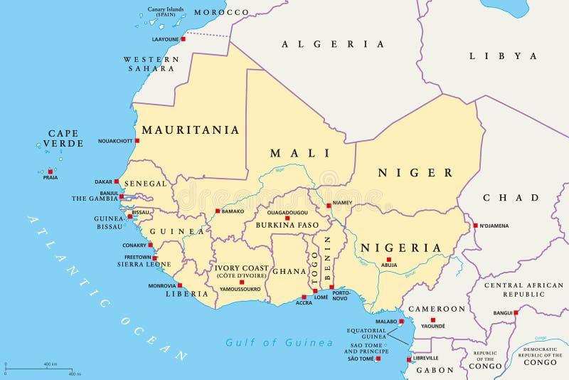 Région de l'Afrique de l'ouest, carte politique illustration stock