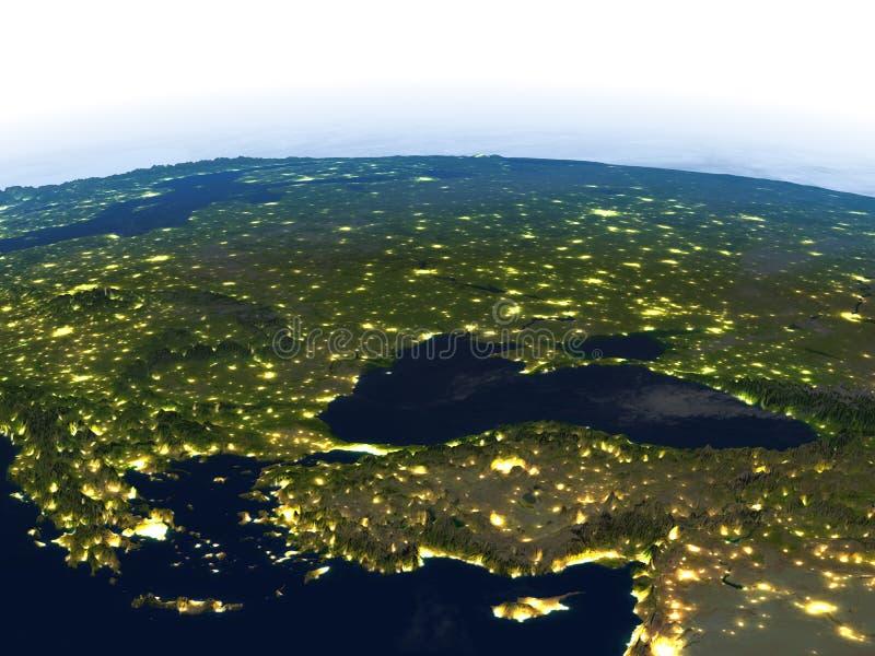 Download Région De La Turquie Et De La Mer Noire La Nuit Sur Terre De Planète Illustration Stock - Illustration du foncé, planète: 87700381
