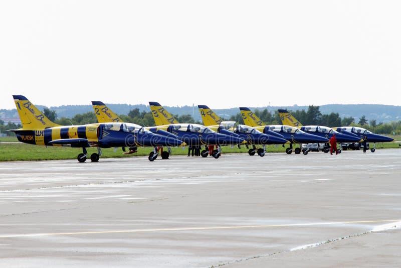 Région de Moscou - 21 juillet 2017 : Aéronefs d'instruction de l'aerobati photos stock