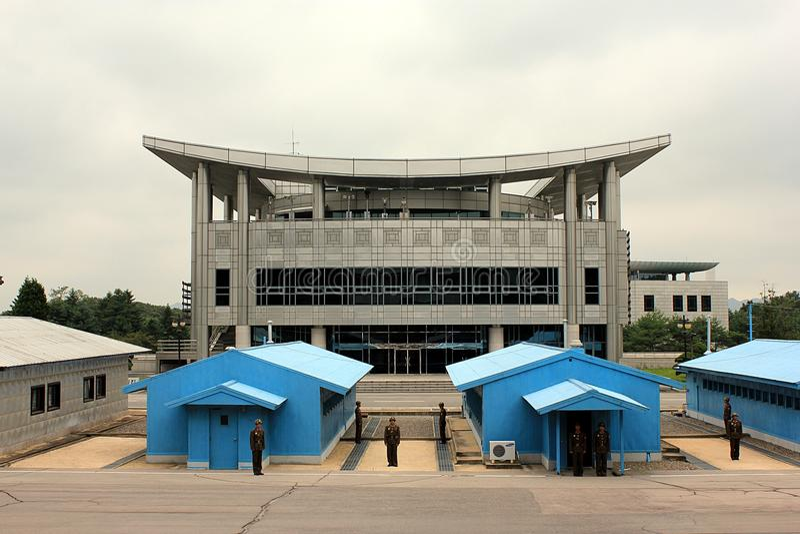 Région de Panmunjom comme vu de Corée du Nord image stock