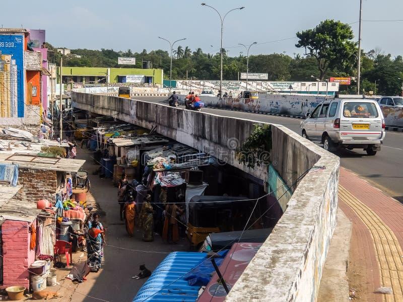 Région de taudis dans Chennai, Inde photo libre de droits