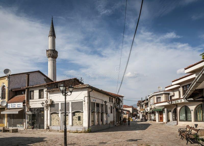 Région de touristes de vieille ville de bazar vieille de Skopje Macédoine photo libre de droits
