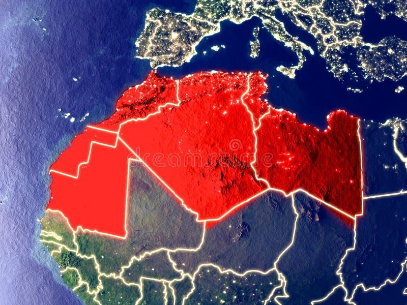 Région du Maghreb sur terre la nuit photo stock