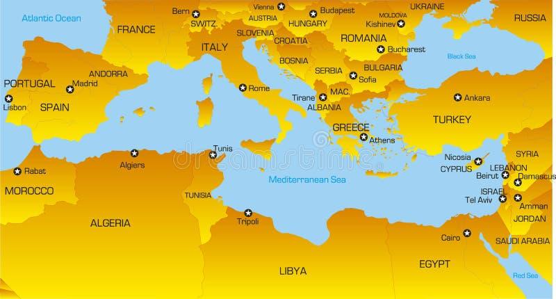 Région méditerranéenne illustration libre de droits