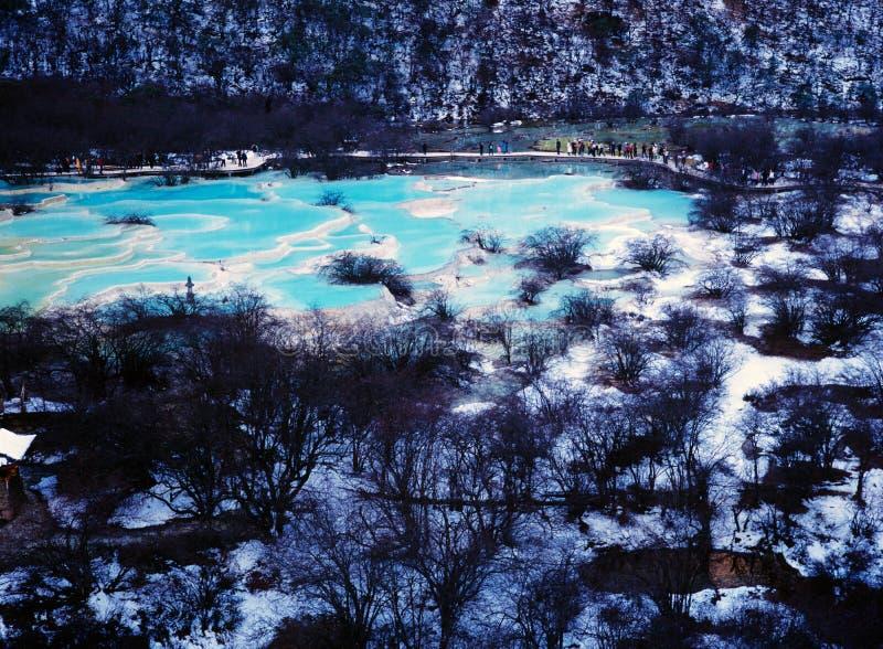 Région scénique de Huanglong en hiver images stock