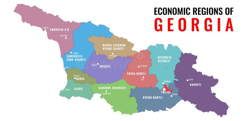 Régions économiques de la Géorgie Chaque des régions est séparées Illustration de vecteur illustration libre de droits