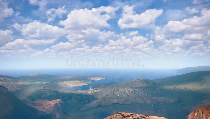 Régions côtières, beau ciel côtier et bleu illustration stock