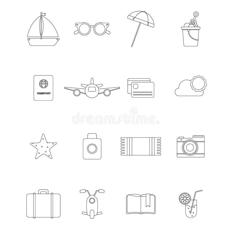 R?gl? avec des objets d'?t? pour la conception illustration de vecteur