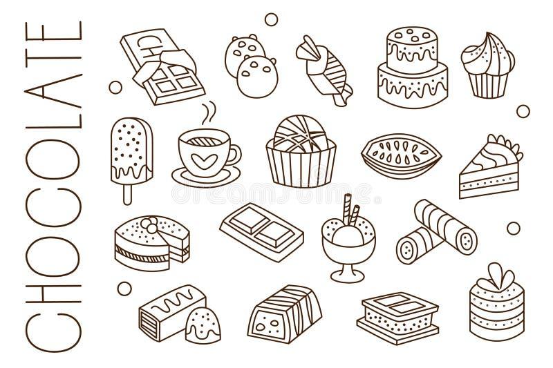 Réglé avec du chocolat, les bonbons, la glace, le cacao chaud, les gâteaux et les petits gâteaux dans le style de croquis Élément illustration stock