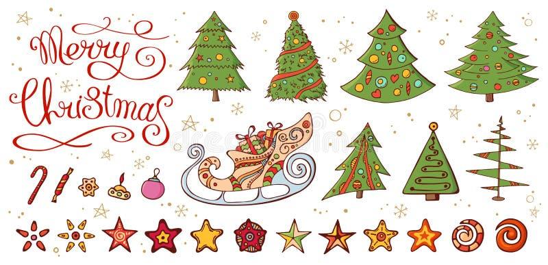 Réglé avec la décoration de Noël de cru illustration stock