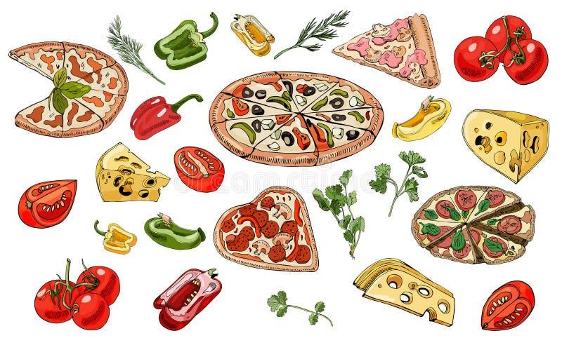 Réglé avec la pizza, le fromage, les herbes et les légumes Encre tir?e par la main et croquis color? illustration libre de droits
