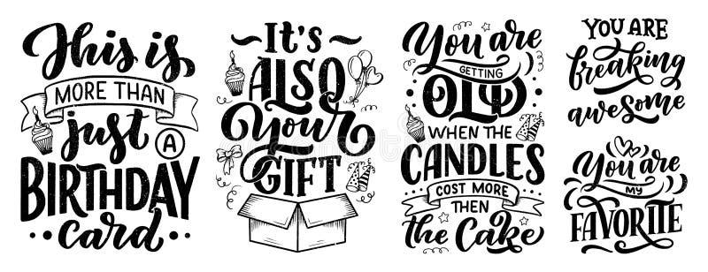 Réglé avec le lettrage d'anniversaire dans le rétro style Cartes d'invitation d'anniversaire Calibres d'invitation de cru pour la illustration libre de droits