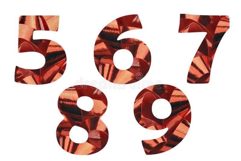 Réglé avec les numéros 5,6,7,8 et 9 coupez d'un plan rapproché d'un ruban rouge de cadeau image stock