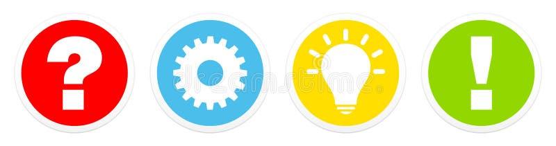 Réglé de couleur d'idée et de réponse de travail de question de quatre boutons illustration libre de droits