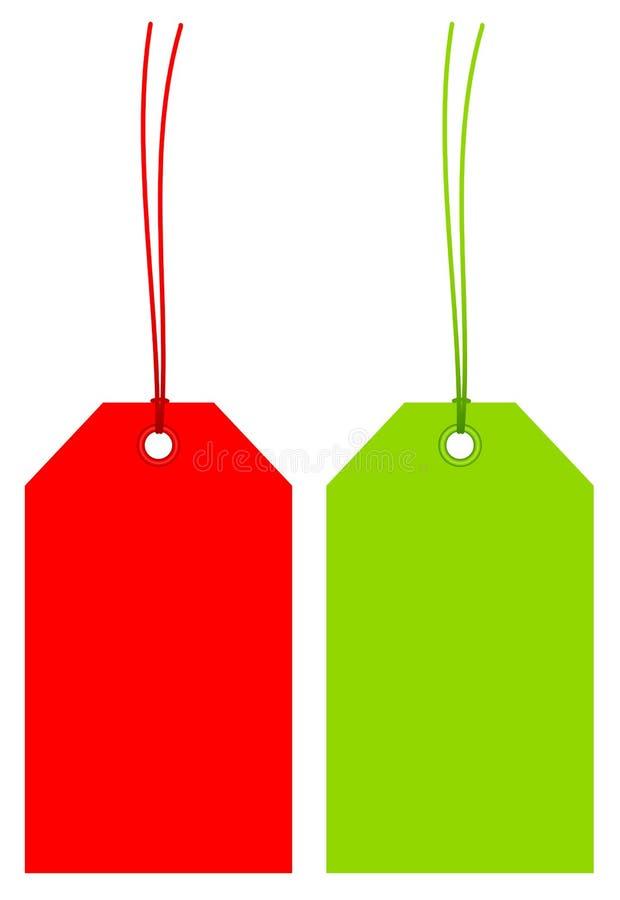 Réglé de deux a pêché les étiquettes du fabriquant colorées avec des ficelles assorties illustration de vecteur