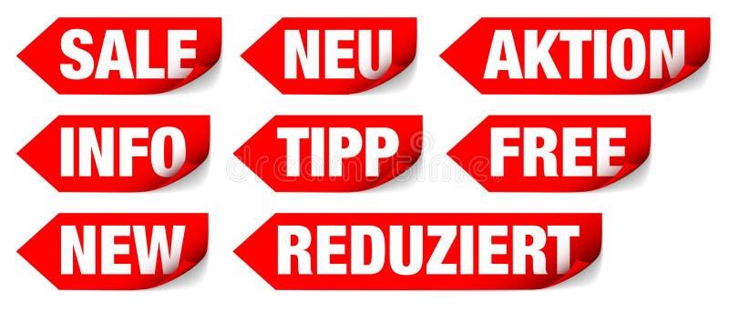 Réglé de huit différents mots de flèches rouges illustration libre de droits