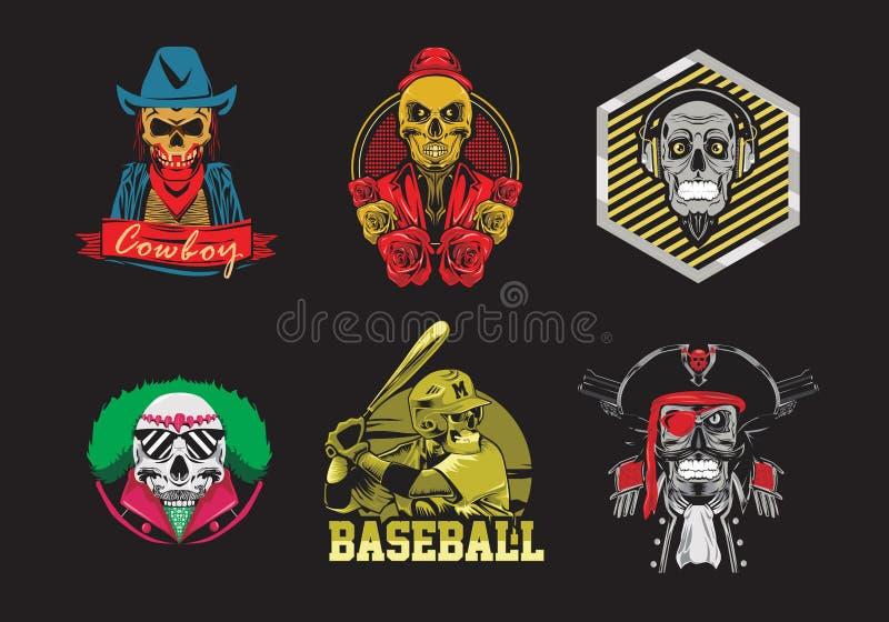 Réglé de l'illustration de vecteur de conception de T-shirt de crâne illustration stock
