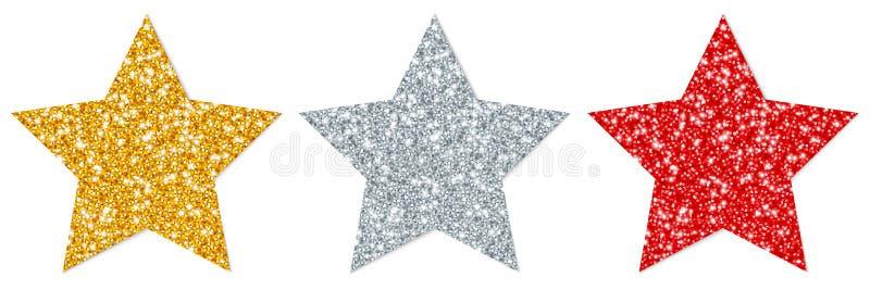 Réglé de l'or de scintillement droit de trois étoiles argentez rouge illustration libre de droits